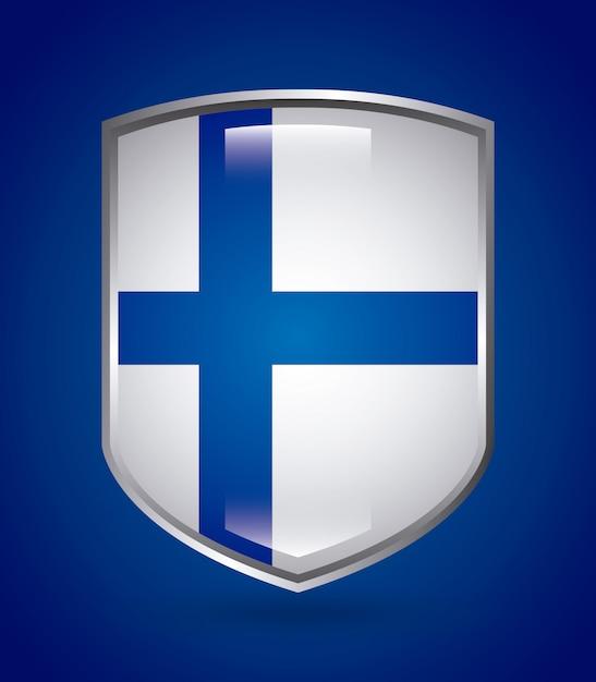 Progettazione della finlandia sopra l'illustrazione blu di vettore del fondo Vettore Premium