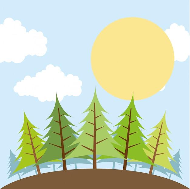 Progettazione della foresta sopra l'illustrazione di vettore del fondo del cielo Vettore Premium