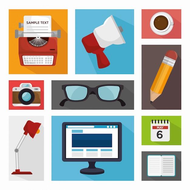 Progettazione della gestione del blog Vettore Premium