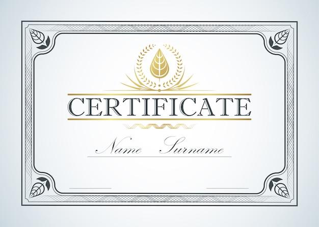 Progettazione della guida del modello di cornice del bordo del certificato. certificato di lusso vintage retrò Vettore Premium