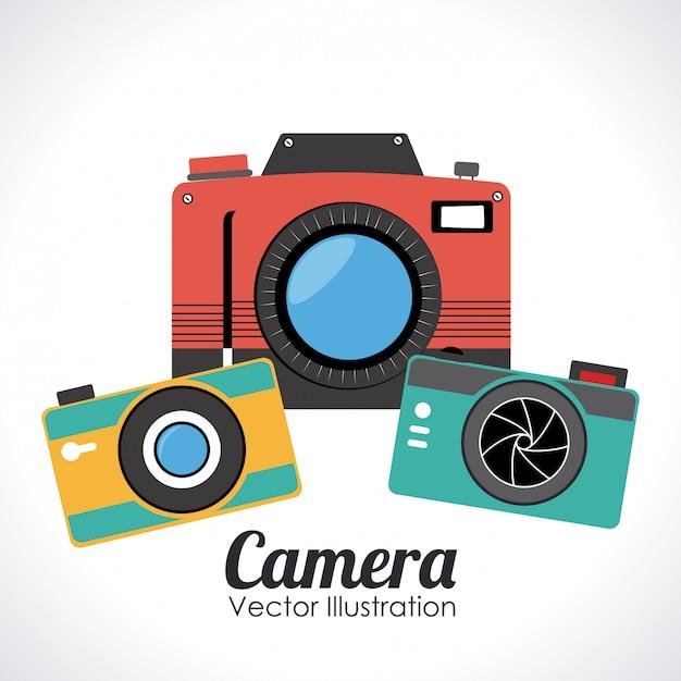 Progettazione della macchina fotografica sopra l'illustrazione bianca di vettore del fondo Vettore Premium