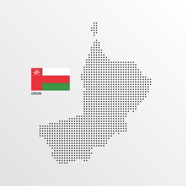 Progettazione della mappa dell'oman con la bandiera e il vettore leggero del fondo Vettore gratuito