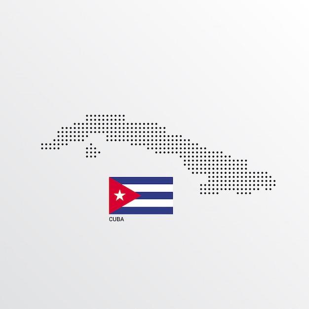 Progettazione della mappa di cuba con la bandiera e il vettore leggero del fondo Vettore gratuito