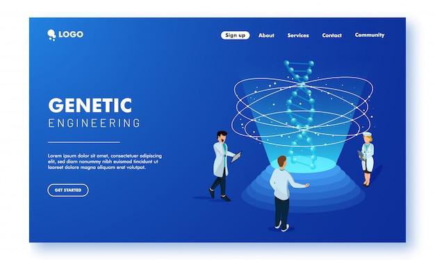 Progettazione della pagina di destinazione del concetto di ingegneria genetica Vettore Premium