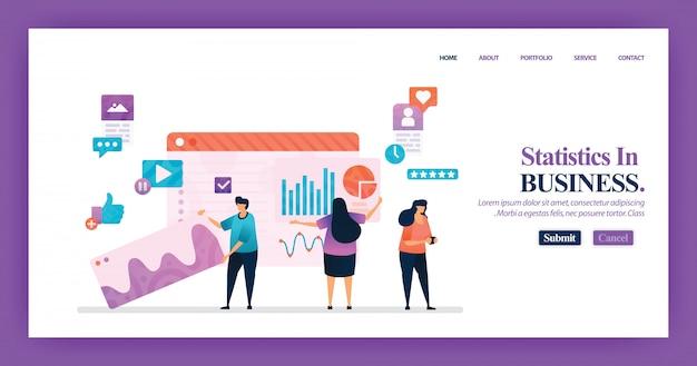Progettazione della pagina di destinazione delle statistiche sulle imprese Vettore Premium
