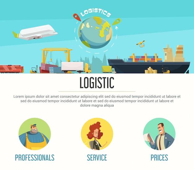 Progettazione della pagina di logistica con l'illustrazione di vettore del fumetto di simboli di prezzi e dei professionisti Vettore gratuito