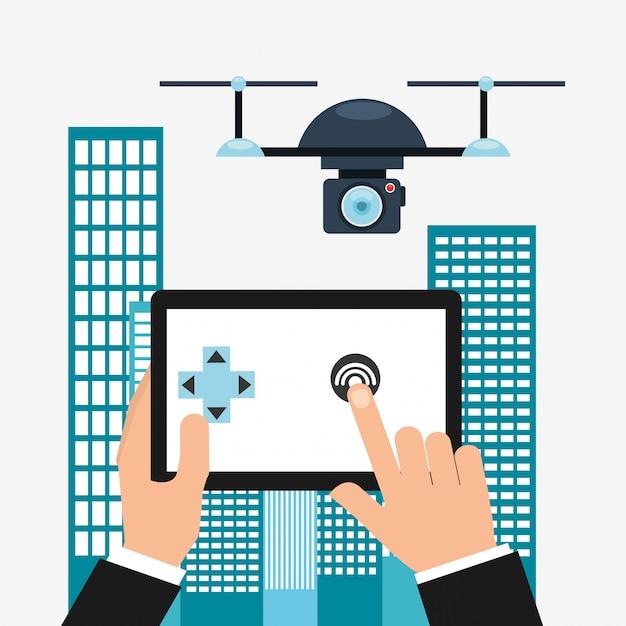 Progettazione della tecnologia dei droni Vettore gratuito