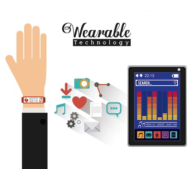 Progettazione della tecnologia smartwatch, illustrazione vettoriale. Vettore Premium