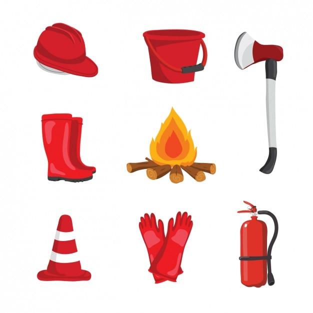Progettazione delle attrezzature fireman Vettore gratuito