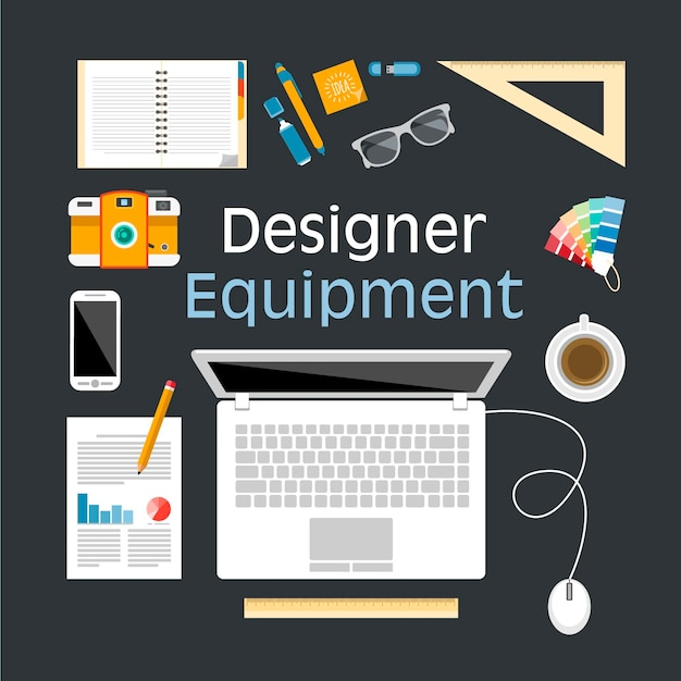 Progettazione delle attrezzature illustrazione piatta Vettore gratuito