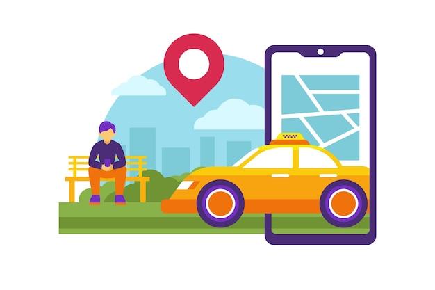 Progettazione di app di servizio taxi Vettore gratuito