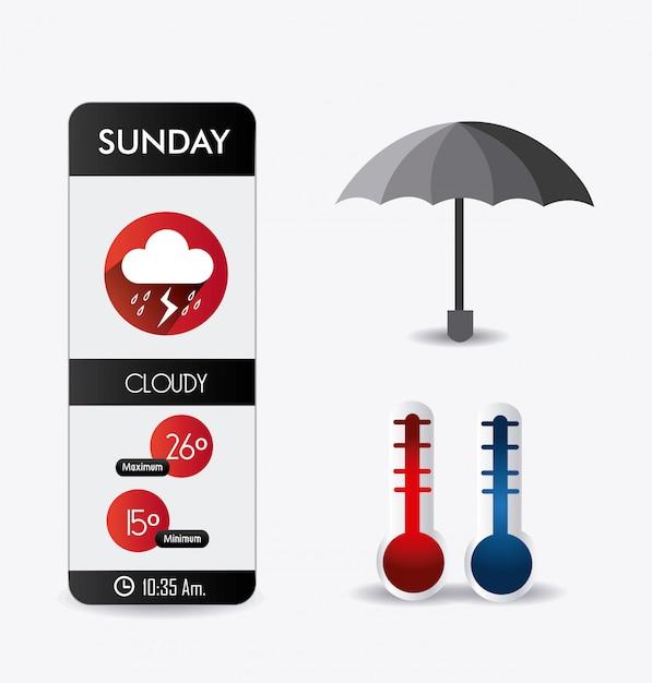 Progettazione di app mobili meteo. Vettore Premium