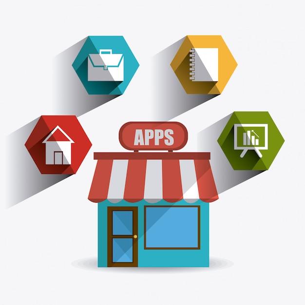 Progettazione di app mobili. Vettore Premium
