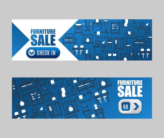 Progettazione di arredi per mobili di vendita banner soggiorno Vettore Premium