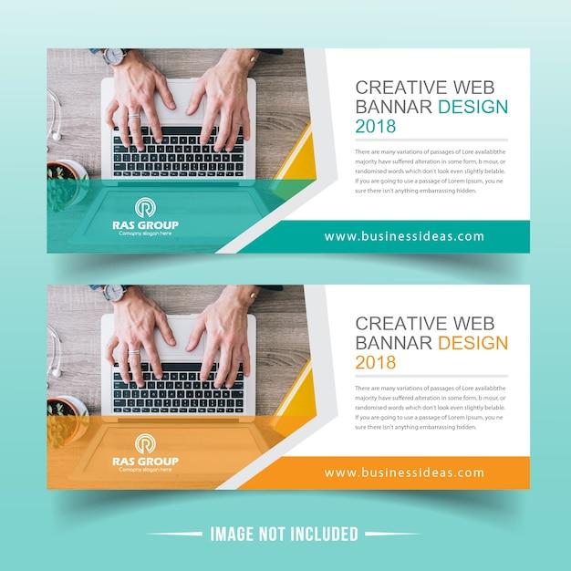 Progettazione di banner web aziendale Vettore Premium