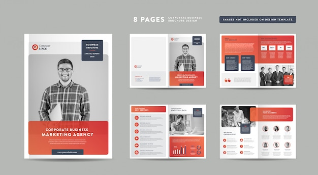 Progettazione di brochure aziendali di 8 pagine | rapporto annuale e profilo aziendale | modello di progettazione libretto e catalogo Vettore Premium