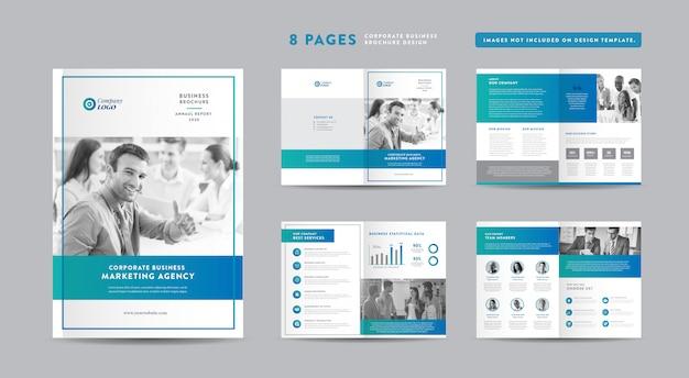 Progettazione di brochure aziendali di otto pagine   rapporto annuale e profilo aziendale   modello di progettazione libretto e catalogo Vettore Premium