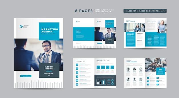 Progettazione di brochure aziendali di otto pagine | rapporto annuale e profilo aziendale | modello di progettazione libretto e catalogo Vettore Premium