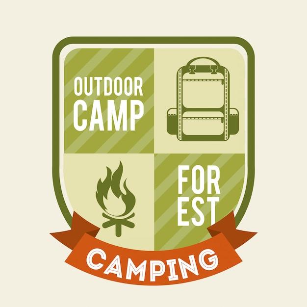 Progettazione di campeggio sopra illustrazione vettoriale sfondo Vettore Premium