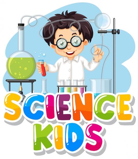 Progettazione di caratteri per bambini di scienza di parola con bambino in laboratorio Vettore gratuito