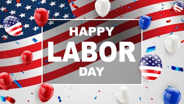 Progettazione di carta di festa del lavoro palloncini bandiera americana sullo sfondo Vettore Premium
