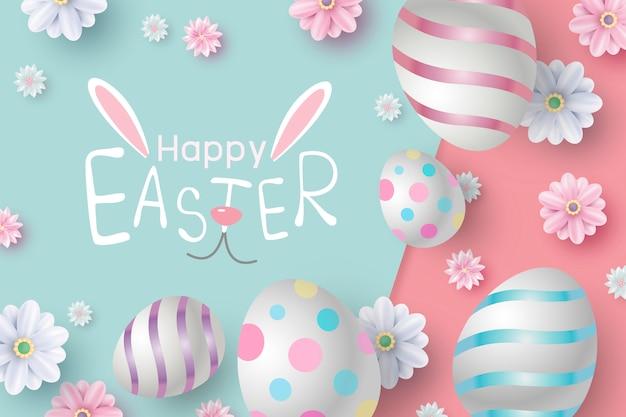 Progettazione di carta di pasqua di uova e fiori su carta a colori Vettore Premium