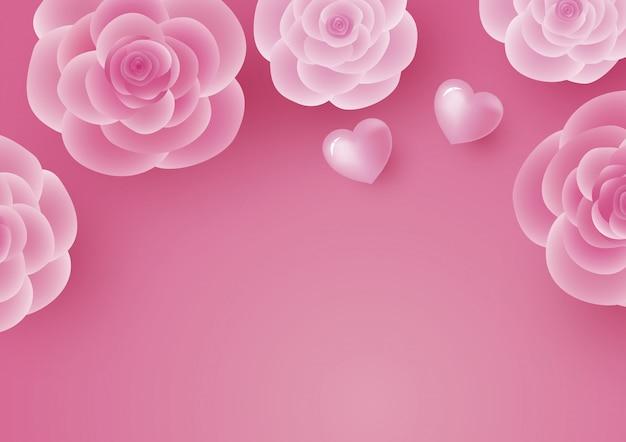 Progettazione di carta di san valentino di fiore rosa e cuore Vettore Premium