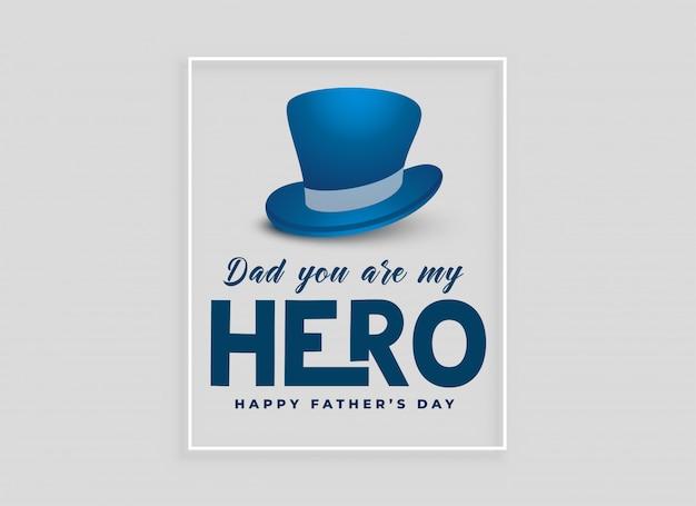 Progettazione di carta felice giorno di padri con cappello Vettore gratuito