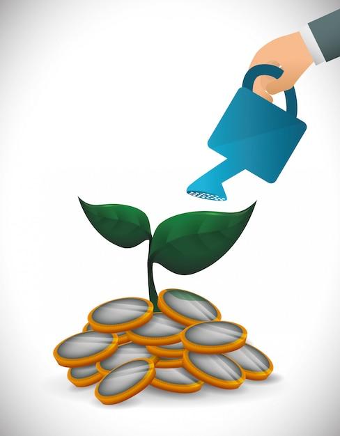 Progettazione di crescita finanziaria Vettore Premium