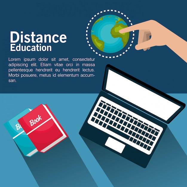 Progettazione di educazione a distanza Vettore Premium