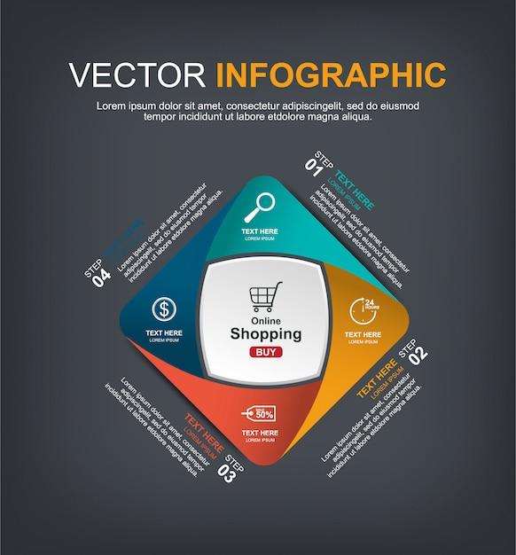 Progettazione di elementi infographic con 4 opzioni Vettore Premium