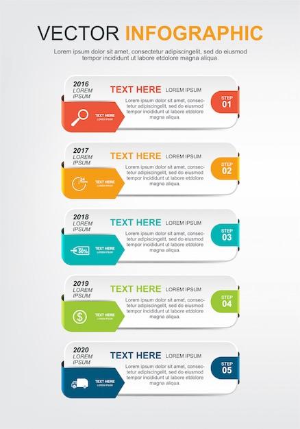 Progettazione di elementi infographic con 5 opzioni Vettore Premium