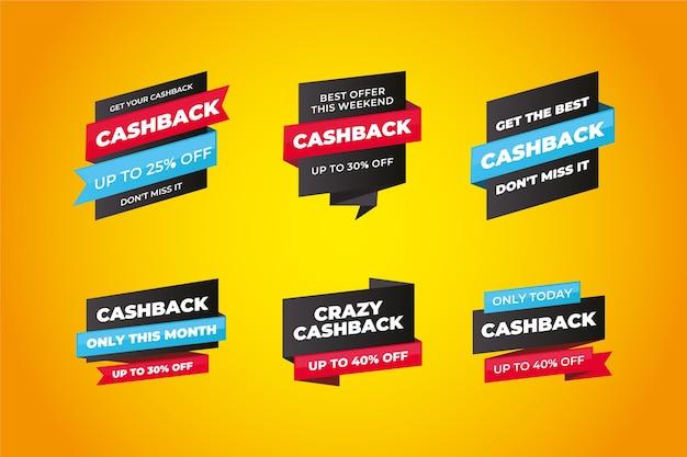 Progettazione di etichette cashback con sconti Vettore gratuito