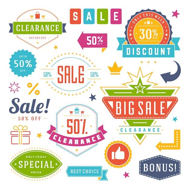 Progettazione di etichette ed etichette di vendita Vettore Premium