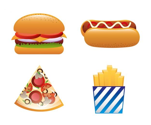 Progettazione di fast food su sfondo bianco illustrazione vettoriale Vettore Premium