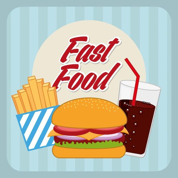 Progettazione di fast food su sfondo blu illustrazione vettoriale Vettore Premium