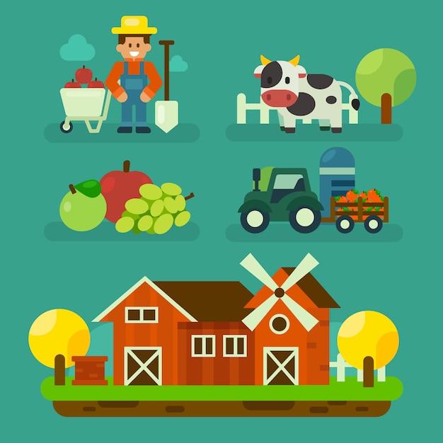 Progettazione di fattoria del fumetto con agricoltore e attrezzature design. illustrazione di vettore di elemento di azienda agricola biologica Vettore Premium
