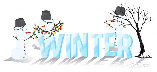 Progettazione di font per l'inverno di parole Vettore gratuito