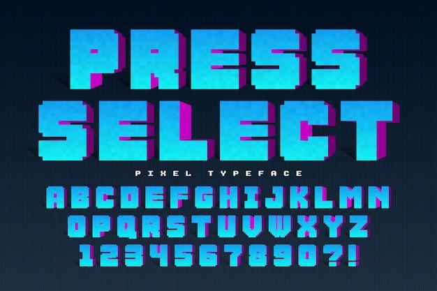 Progettazione di font pixel vettoriale Vettore Premium