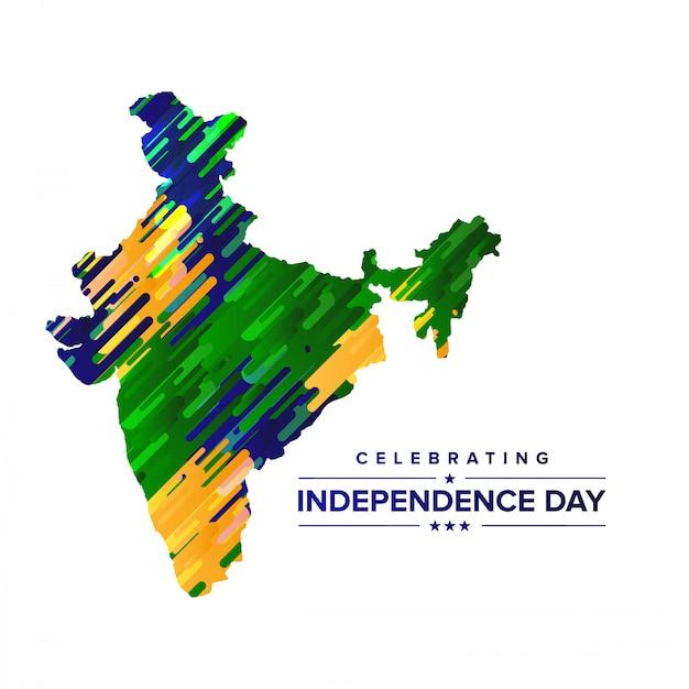 Progettazione di giorno dell'indipendenza dell'india con il vettore di tipografia e della mappa Vettore Premium