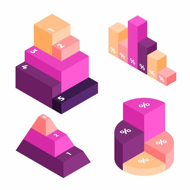 Progettazione di grafico isometrico di infographics di affari Vettore gratuito
