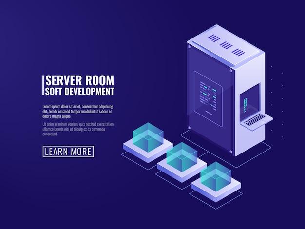 Progettazione di icone di sistemi informatici, server web, apparecchiature informatiche, elaborazione di grandi quantità di dati Vettore gratuito