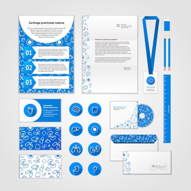 Progettazione di identità aziendale medica con icone piatte moderne. business set di cancelleria Vettore Premium