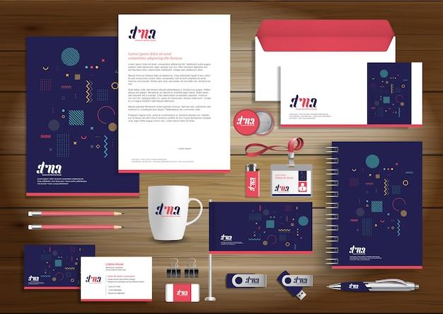 Progettazione di identità di affari corporativi cancelleria di vettore Vettore Premium