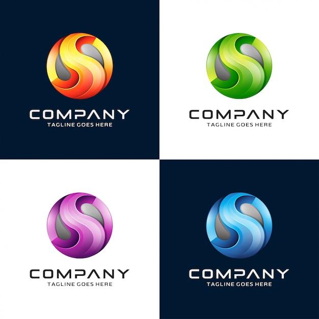 Progettazione di logo 3d lettera s con logo del cerchio Vettore Premium