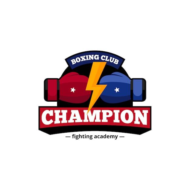 Progettazione di logo del club dei campioni di pugilato di accademia di combattimento in blu e nel rosso con l'illustrazione astratta piana di vettore del fulmine dorato Vettore gratuito
