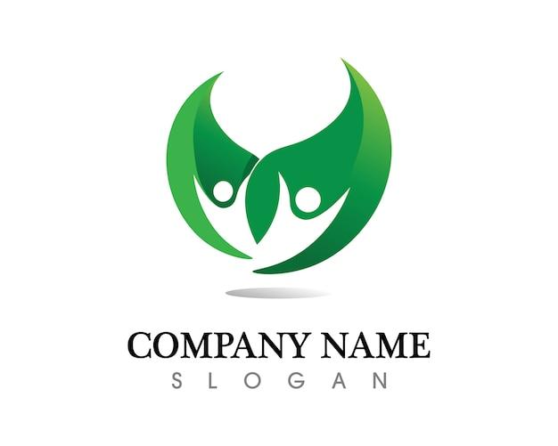 Progettazione di logo di vettore della foglia dell'albero, concetto ecologico. Vettore Premium