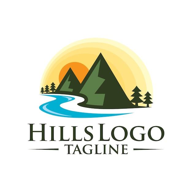 Progettazione di logo di vettore di colline paesaggio Vettore Premium