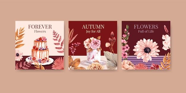 Progettazione di massima del fiore di autunno per la pubblicità e la commercializzazione Vettore gratuito