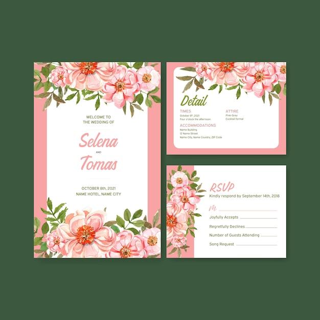 Progettazione di massima del fiore di estate per l'acquerello del modello della partecipazione di nozze Vettore gratuito